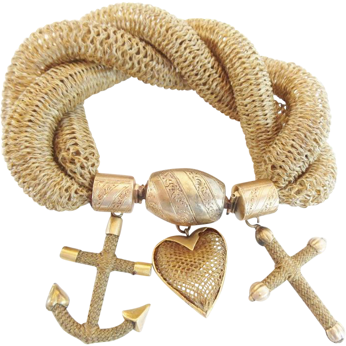 "Antique  Pinchbeck  Mourning Woven Hair Bracelet W Engraved Mounts & Three Woven Hair Charms ""Anchor, Heart & Cross"""