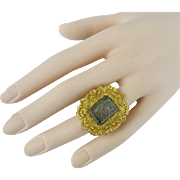 Antique Pinchbeck Mourning  Hair Ring