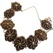 "Pinchbeck  Mourning  Hair Flower Bracelet ""8 Metal Flowers Filled w Woven Hair """