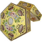 "Antique French Gold Cut to Pink Hinged Box ""Hand painted Flowers"" RARE OCTAGON SHAPE"