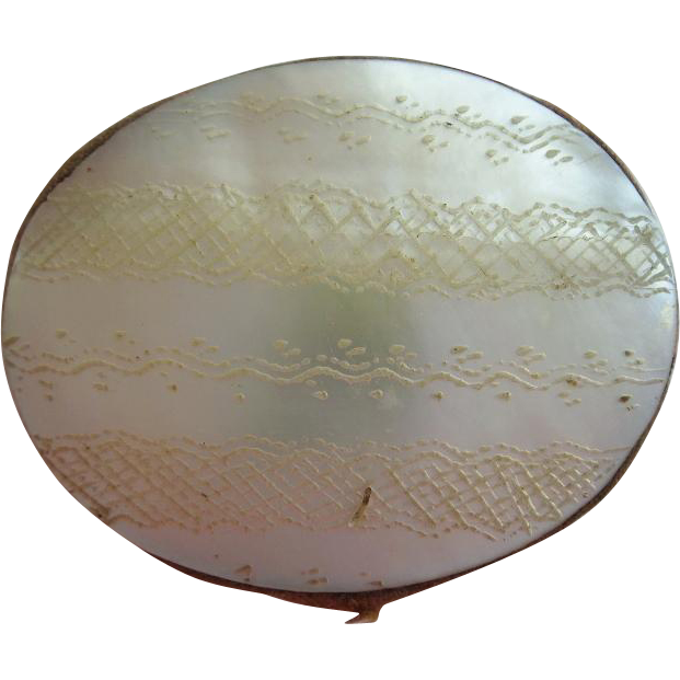 "Antique Mother of Pearl Pin Cushion Disc   ""1840"""