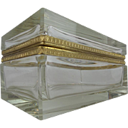 "BIG Beautiful Crystal Hinged Box ""Stunning Ornate Gilt Mounts"""