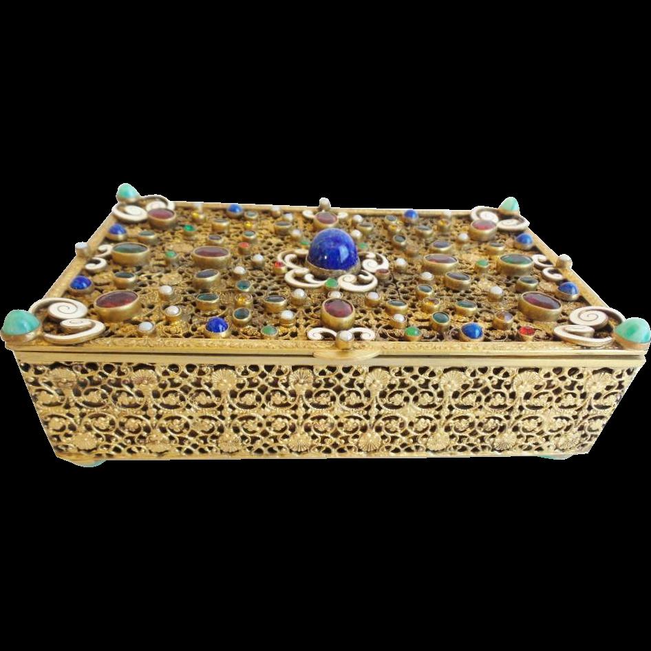 "Antique Austrian Bronze Enamel Jeweled Hinged Box "" GORGEOUS"""