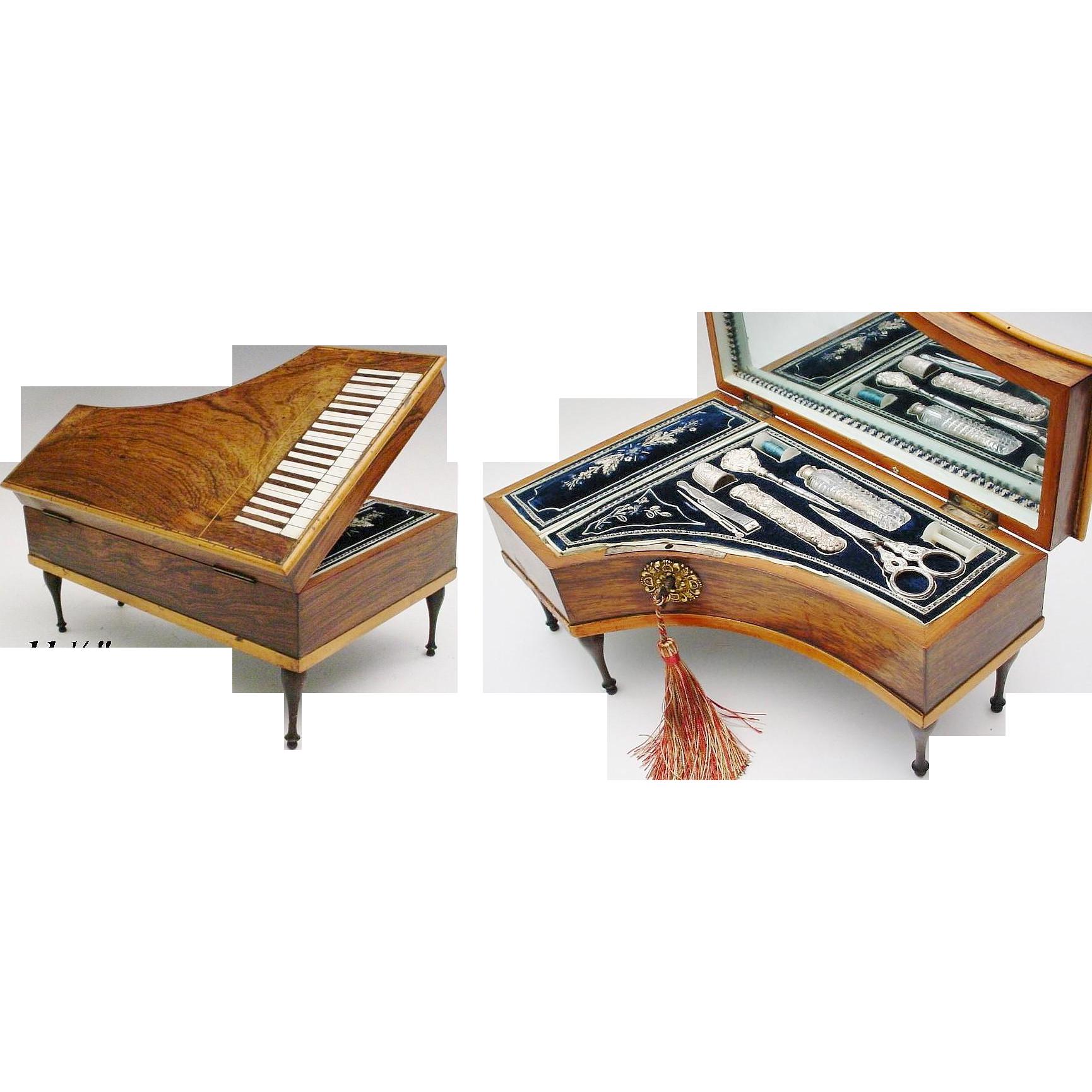 "Antique Palais Royal Sewing Box Etui ""Harpsichord Piano ""  GRANDEST"