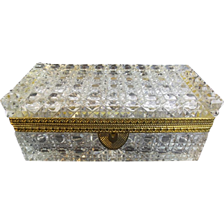 """Antique French Cut Crystal Glove Casket Hinged Box  """"RARE SIZE & CUT"""""""