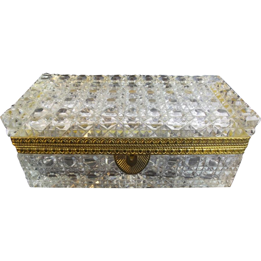 "Antique French Cut Crystal Glove Casket Hinged Box  ""RARE SIZE & CUT"""