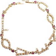 "Fabulous 14KARAT 7"" Diamond and Ruby ""I LOVE YOU' Bracelet"