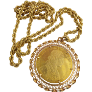 "1915 Austrian Gold  4 Ducat in 18KARAT Yellow Gold Bezel with  36"" 18KARAT Yellow Gold Rope"