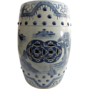 "Beautiful Antique Blue & White Chinese Porcelain Garden Seat ""BARREL FORM"""