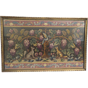 "Glorious Antique English Embroidery Fragment Framed ""Birds,Dogs/Foxes & Flowers"""