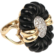 "Vintage Estate Diamond Black Onyx Ring ""AWESOME"""