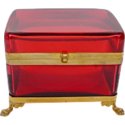 "Grandest Antique French Red Casket Hinged Box "" PAW FEET"" BIG & BEAUTIFUL"
