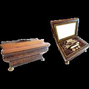 """10 ½"""" Palais Royal Sewing Box Etui Filled """"11 MOP TREASURES"""""""