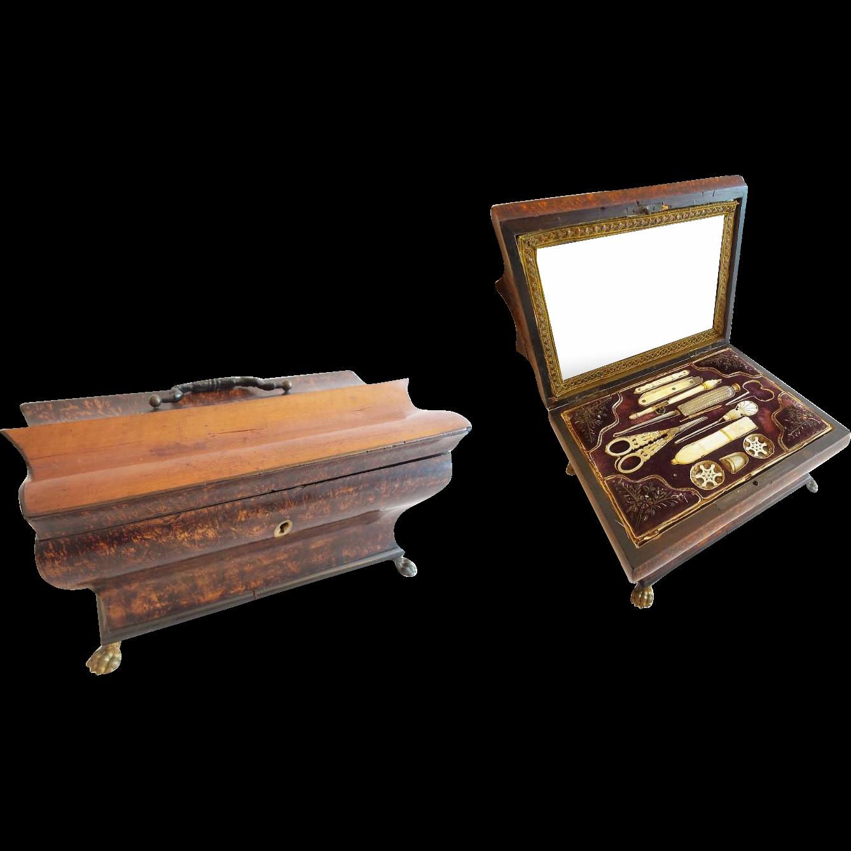 "10 ½"" Palais Royal Sewing Box Etui Filled ""11 MOP"