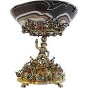 "Antique Austrian Figural Silver Jeweled & Agate Compote "" GRANDEST"""