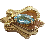 Vintage Estate 14KARAT Blue Topaz  Add a Slide