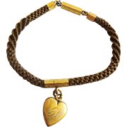 "Antique Pinchbeck Mourning Hair  7 ¼"" Bracelet HEART PENDANT  Monogrammed ""L"" on one side & ""B"" on the other side."