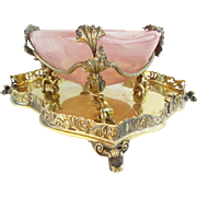 "Glorious  Antique Pink Quartz Bowl w Grandest Figural Gilt Silver ""CAVIAR """
