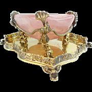 "Glorious  Antique Pink Quartz Bowl w Grandest Figural Gilt Silver ""CAVIAR """