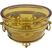 """Antique French Baccarat Double Handles Scent Casket """"AWESOME"""""""