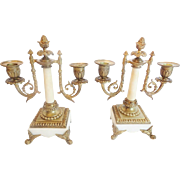 "Antique Bronze Alabaster Double Light Candelabras  ""BEAUTIFUL COLUMNS & FOOTED BASE"""