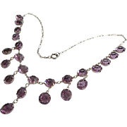 "16"" Antique Edwardian  Silver Amethyst Czech Glass Crystal  Drop Necklace"
