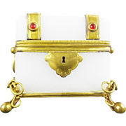 "Antique French Jeweled Opaline Casket Hinged Box ""LUSCIOUS  OPALINE & GEMS"""
