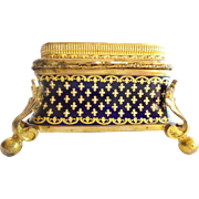 """LAYAWAY Antique French Enameled Jewelry Casket Hinged Box """" Gems & Exquisite Bronze Mounts"""""""
