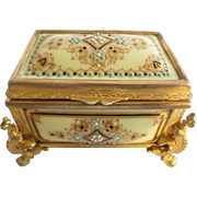 "Magnificent Antique French Enamel Jewelry Casket Hinged Box ""Jewel Dots & Bronze Mounts"""