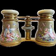 """Antique French Enamel Figural Opera Glasses """"LEMAIRE PARIS""""  BIRDS & FLOWERS"""