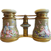 "Antique French Enamel Figural Opera Glasses ""LEMAIRE PARIS""  BIRDS & FLOWERS"