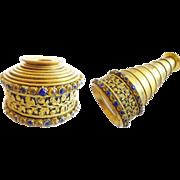 "Magnificent Antique Jeweled Monocular ""GILT FLORA w/ BLUE  & GOLD GEMS"""