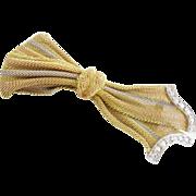 EXQUISITE Diamond & 14Karat Tricolor Gold Bow Broach
