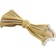 EXQUISITE Diamond & 14Karat Tricolor Gold Bow Broach
