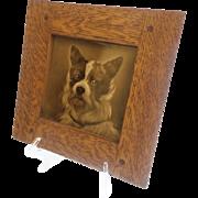 """Antique English Porcelain """"DOG"""" Tile Framed """"WONDERFUL"""""""