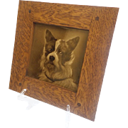 "Antique English Porcelain ""DOG"" Tile Framed ""WONDERFUL"""