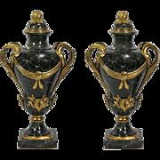 "Glorious 26"" 19C Bronze Marble Urns "" DARK GREEN """