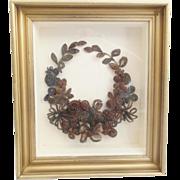 "AMAZING 15"" Victorian Hair Wreath Bouquet Shadowbox"