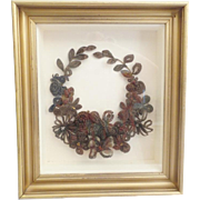 "AMAZING 15"" Victorian Hair Wreath Bouquet Shadowbox"