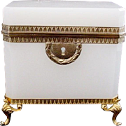"""Antique French White Opaline Casket Hinged Box """"Awesome Footed Base""""  A BEAUTY!"""