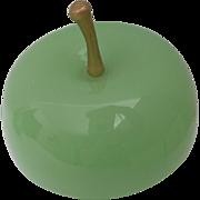 """Antique Green Opaline Apple Casket Box """"GILT STEM"""""""