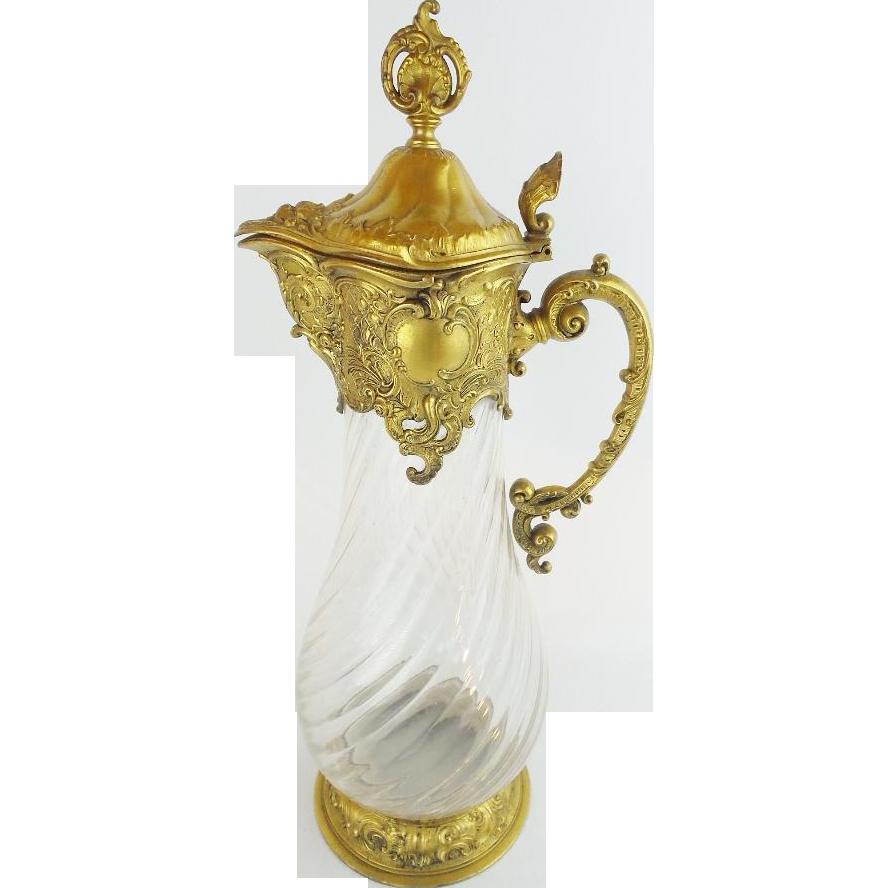 "Antique Crystal Decanter Wine Claret Jug ""Ornate Rococo Style """