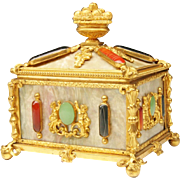 """Antique French  Jeweled  Casket Hinged Box """" Awesome Gems of Goldstone, Jadeite, Carnelian & Agate"""""""