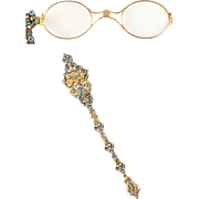 "19C 14K Jeweled Enameled Austro Hungarian Lorgnette ""Seed Pearls, Cabochons Turquoise, Rubies, & Emeralds."""