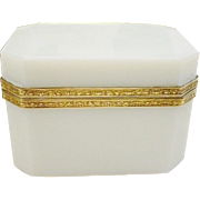 Wonderful  Antique French White Opaline Casket Hinged Box ~ Beautiful White Opaline Rectangular Shape with One Inch Clipped Corners &  Fancy Mounts