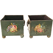 Pretty Antique French Tole Painted Cachepots  PAIR ~ Resting on Brass Ball Feet &  Double Ring Handle
