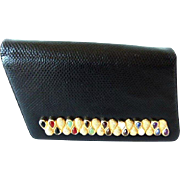 "Gorgeous  Estate Vintage Judith Leiber Black ""SNAKESKIN"" ~ Jeweled Bar Clasp  ~   A Snakeskin Shoulder Strap & Lots of Original Goodies"