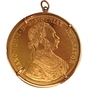 "Beautiful  1 ½"" Austrian 986 4 Gold Ducat ~  With the figure of Franz Joseph ~  10KARAT Yellow Gold Bezel"