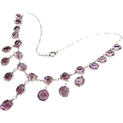 "16"" Antique Edwardian Sterling Silver 9mm Amethyst Czech Glass Crystal Graduated Drop Necklace  ~ Absolutely Gorgeous"