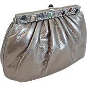 Elegant Judith Leiber Silver Snakeskin KARUNG Jeweled Handbag  ~  Original Comb, Mirror & Coin Purse ~ A BEAUTY!